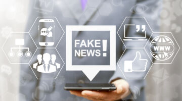 Fake news, HOAX political internet social network concept. Fabricated false disinformation technology on TV and newspaper. Politician offer on smartphone bubble distorted tidings on virtual screen